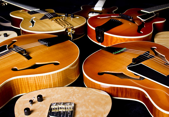 Joe Dragony hand built archtop and electric guitars